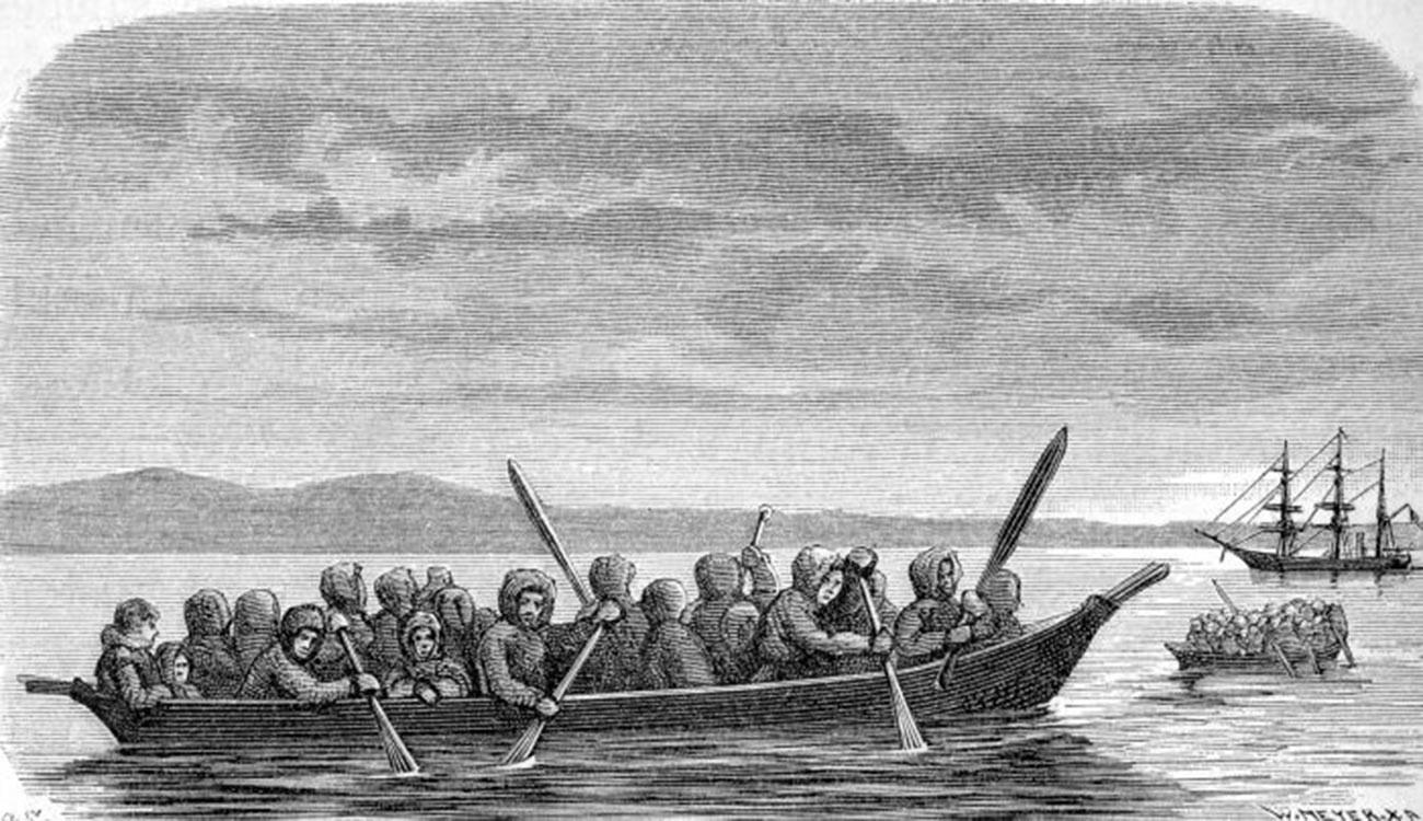 Лодка чукчи - байдара