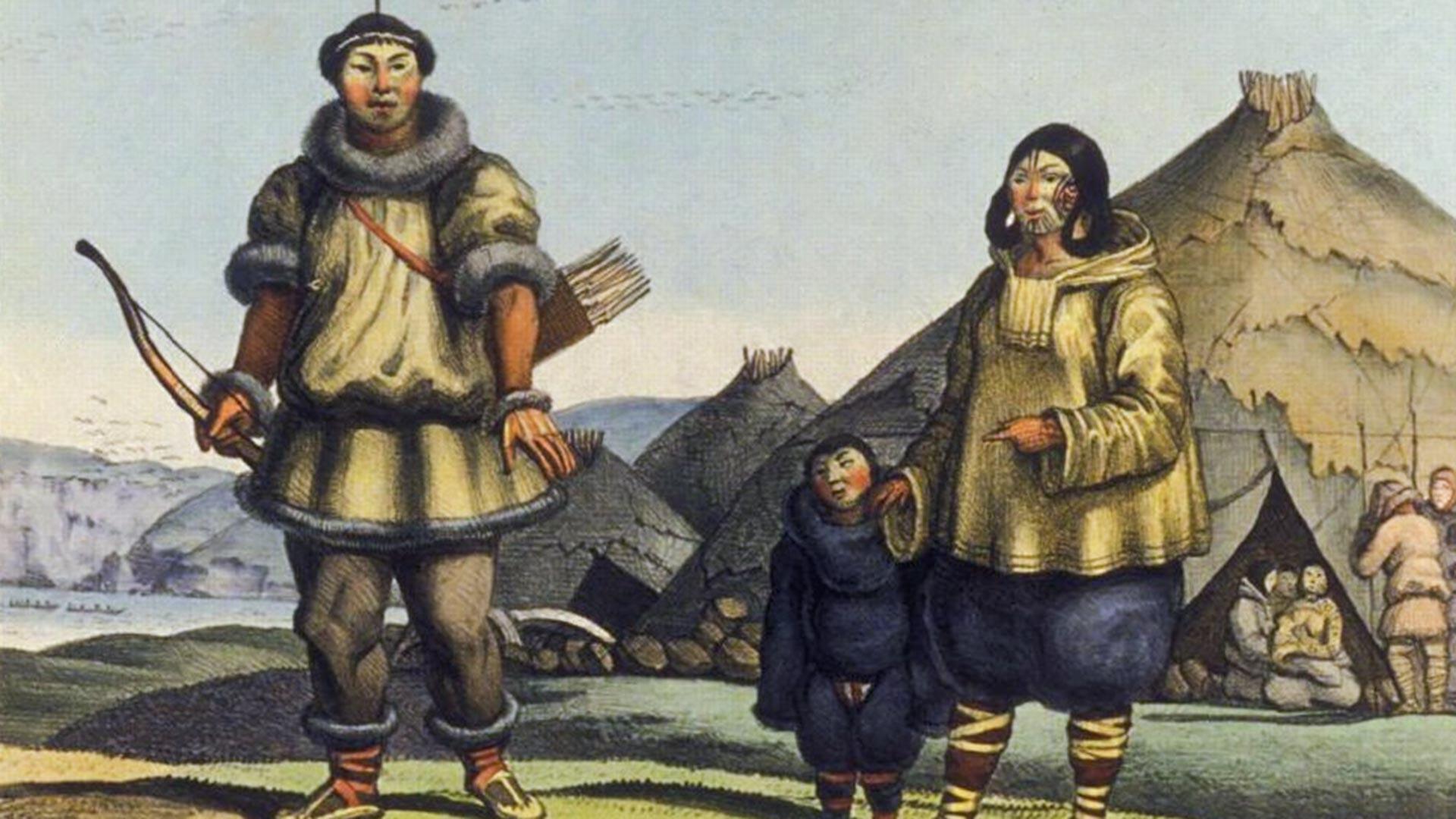 Družina Čukčev pred njihovim bivališčem