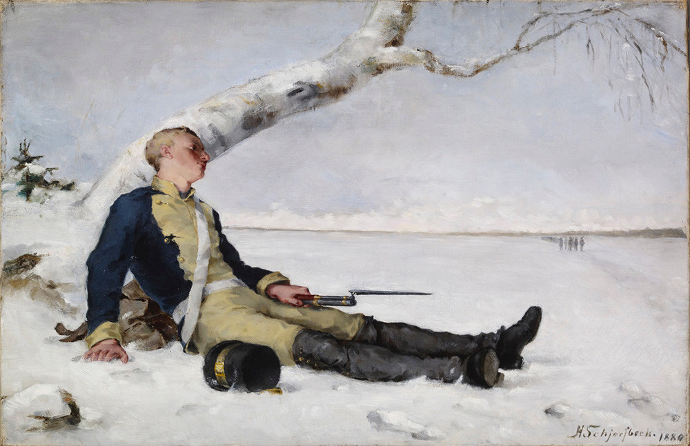 Wounded Warrior in the Snow by Helene Schjerfbeck.