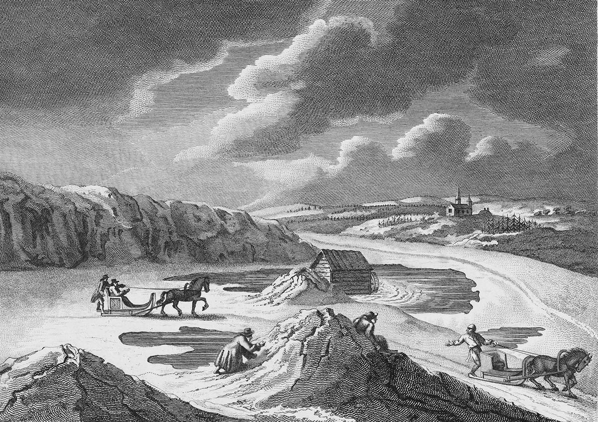 """Sebuah ukiran oleh J. Bye dari """"Perjalanan melalui Swedia, Finlandia, dan Laplandia ke Tanjung Utara pada 1798 dan 1799"""" oleh Giuseppe Acerbi, (London, 1802)."""