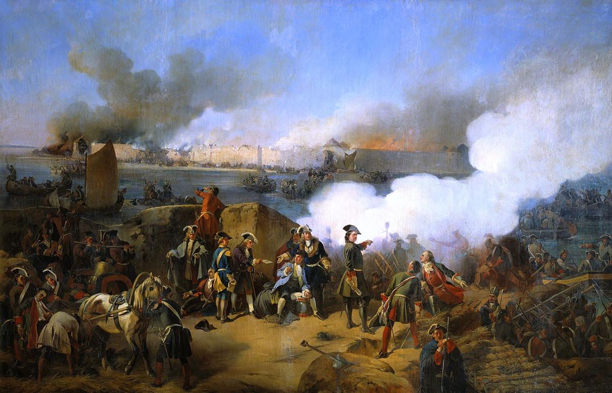 Penyerbuan Benteng Noteburg Swedia pada Oktober 1702 oleh Pasukan Rusia. Tsar Rusia Pyotr I tampak di tengah. Alexander von Kotzebue.
