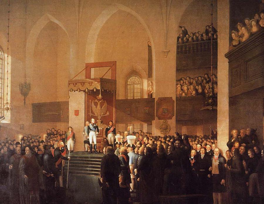 Tsar Aleksandr I meresmikan Diet Porvoo 1809 oleh Emanuel Thelning.