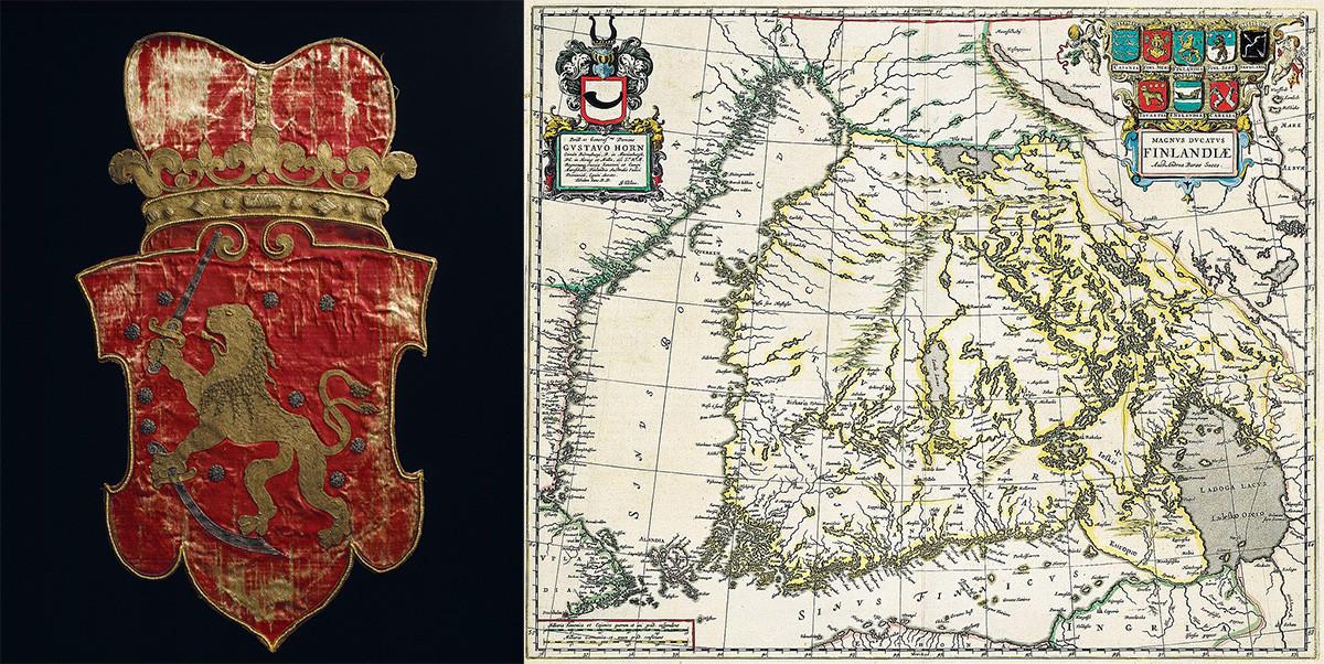 À gauche : armoires finlandaises de 1633, sous l'Empire suédois. À droite : carte de Suède et de Finlande, faite à Stockholm (Suède), 1747.