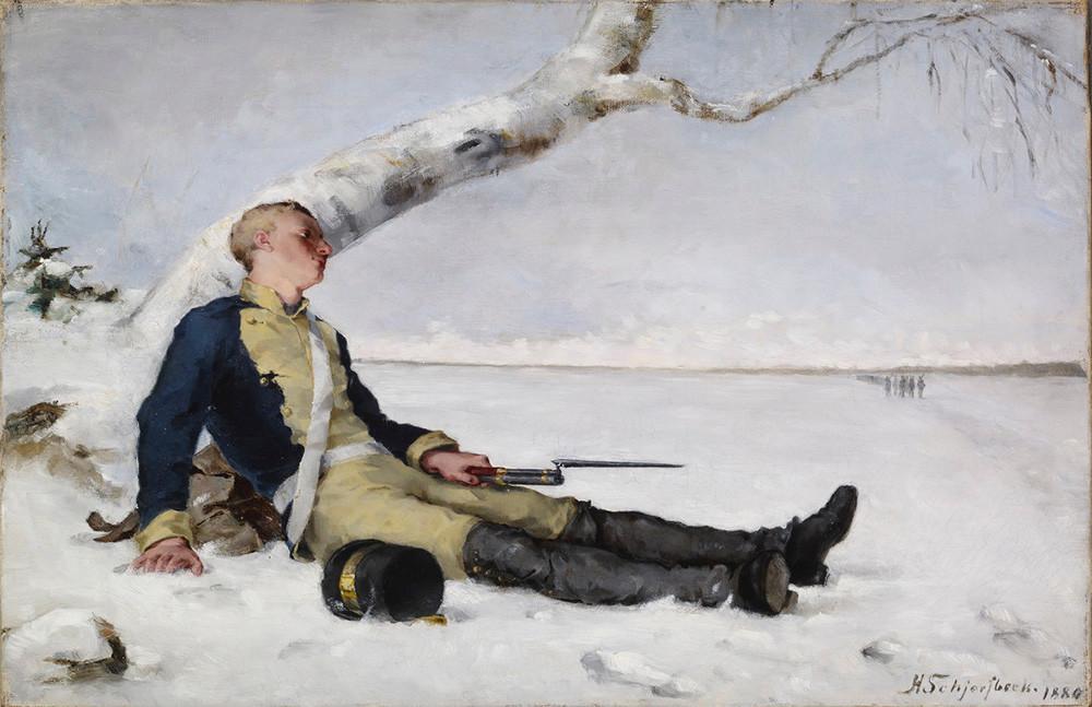 『雪の中の傷ついた戦士』、画家ヘレン・シャルフベック、1880年