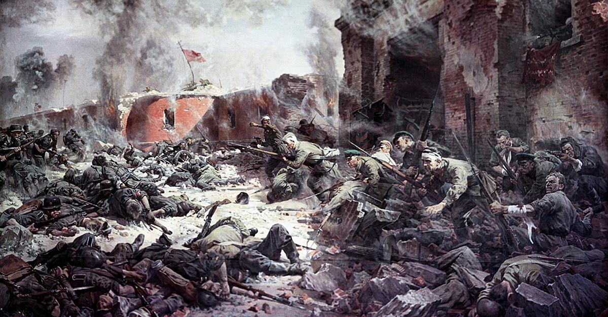 """Репродукција слике Петра Александровича Кривоногова """"Браниоци Брестске тврђаве"""", 1951."""