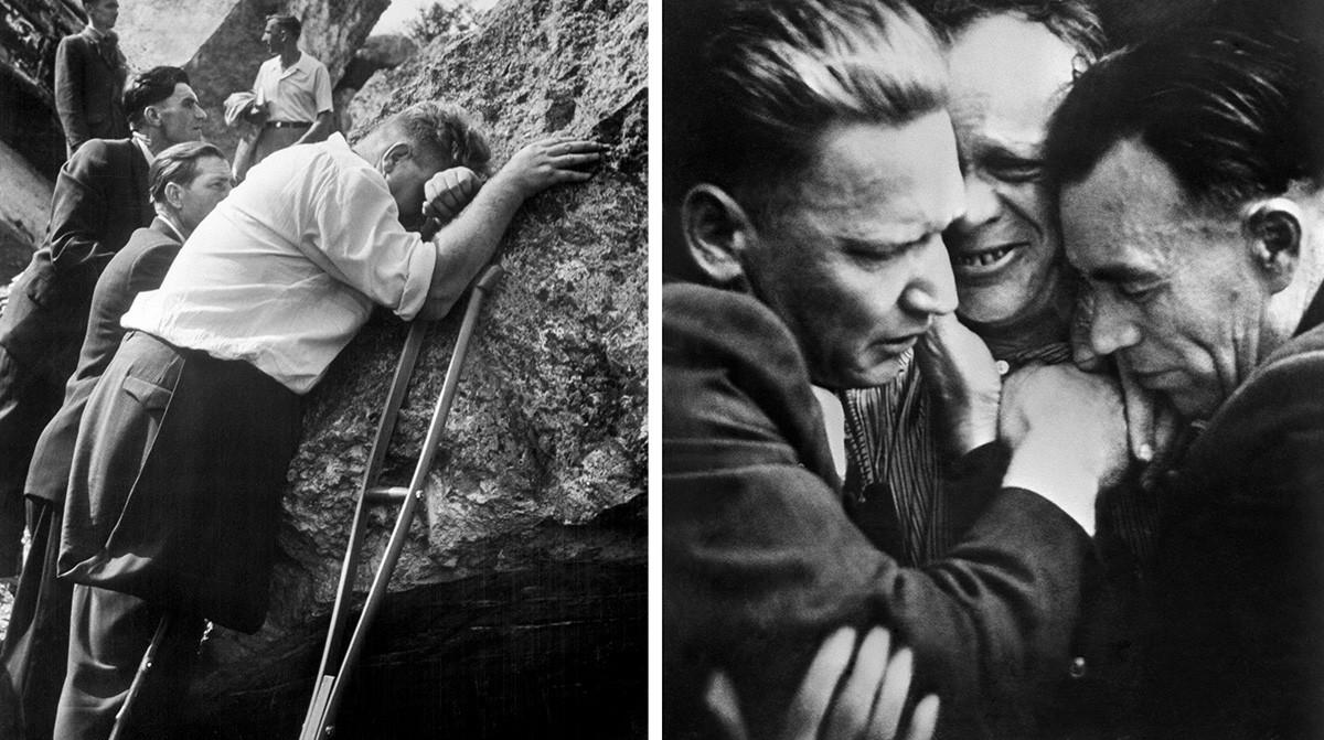 """СССР. 20 май 1962 г. Снимка на М. Ананин """"Не трябва да се повтаря"""" (Бретската крепост) - - - Вдясно: Защитници на Брестската крепост, 1960 г."""