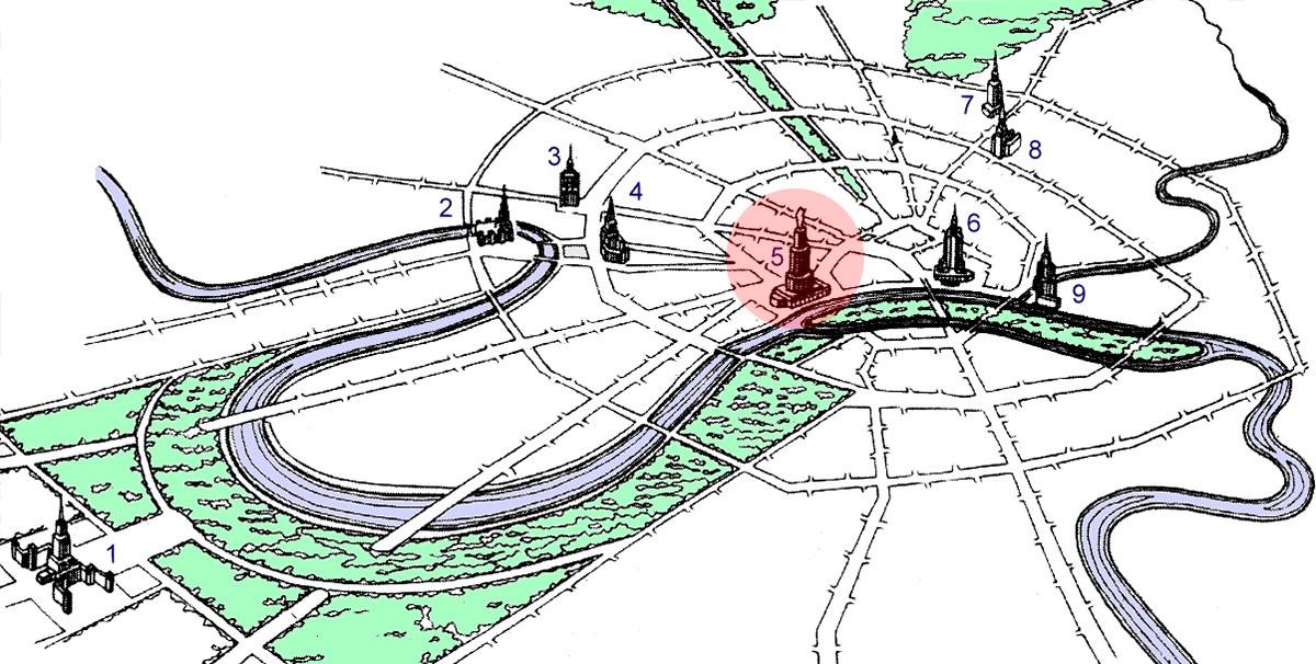 Splošni načrt preureditve centra Moskve. Palača sovjetov je označena z rdečo.