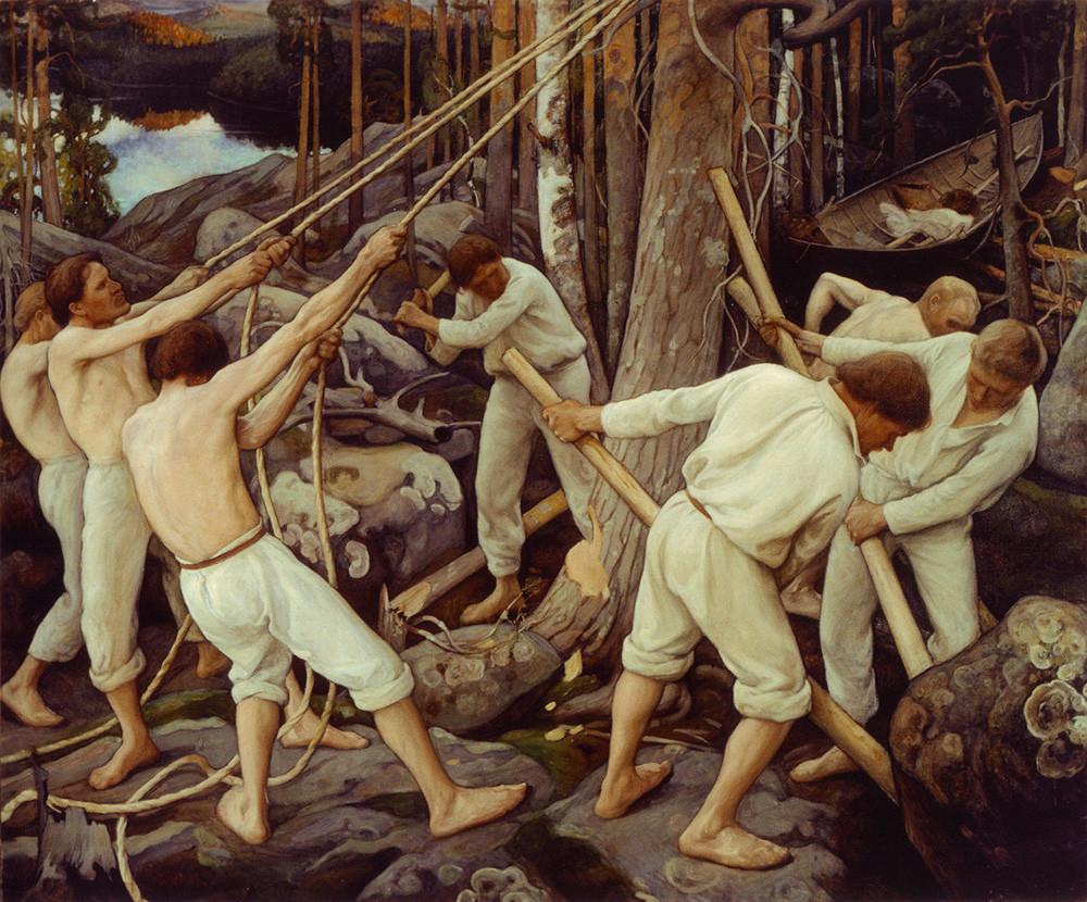 Pioneros en Carelia, de Pekka Halonen, 1900.