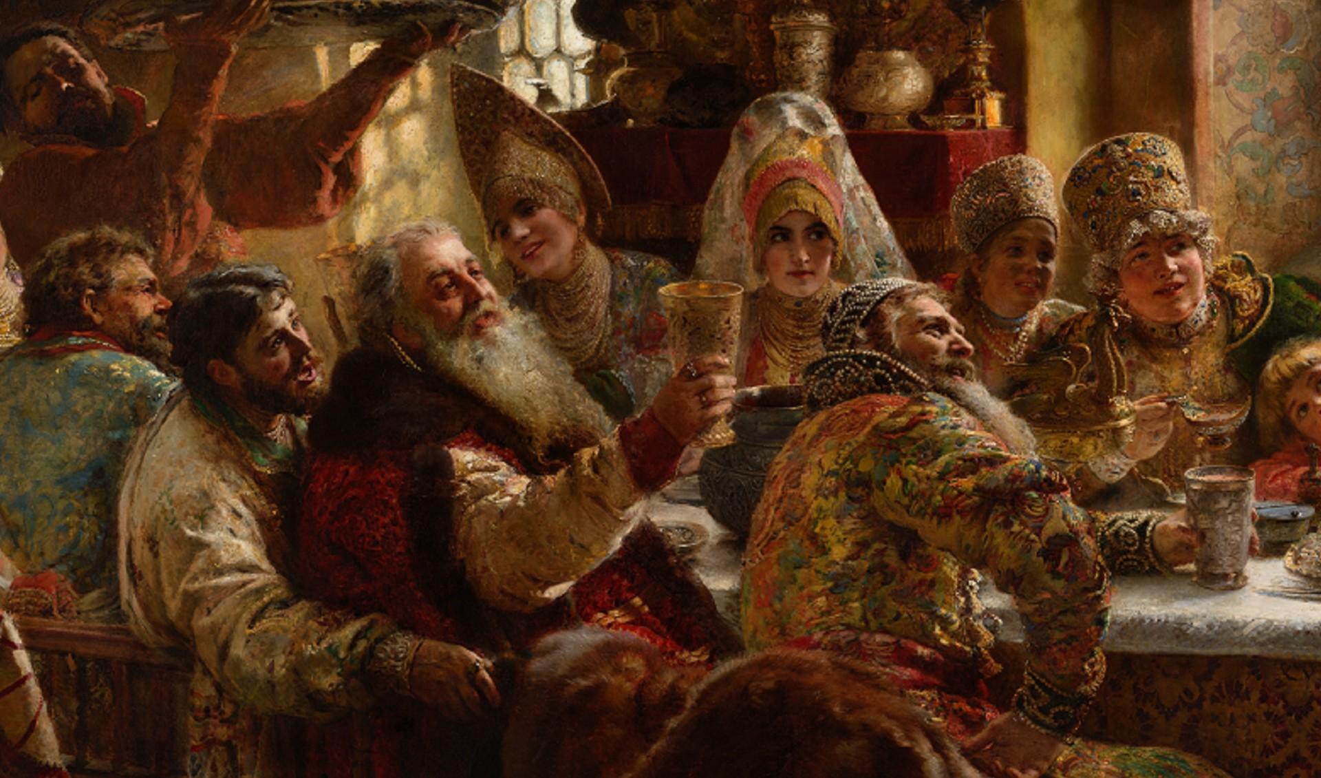 """Детаљ слике """"Бољари пирују на свадби"""" Константина Маковског, 1883."""