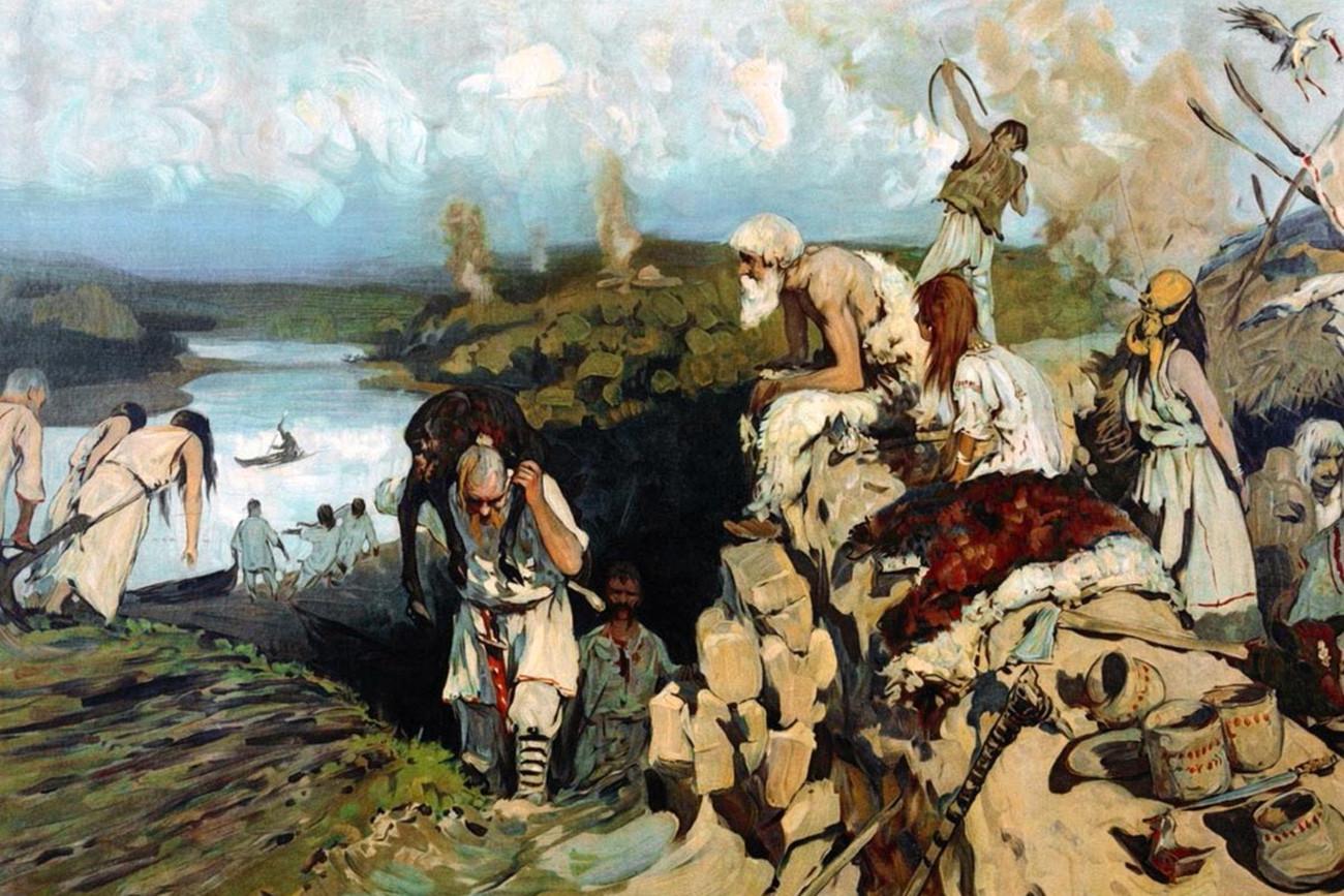 """Quadro """"Vida dos eslavos"""", de Serguêi Ivanov"""