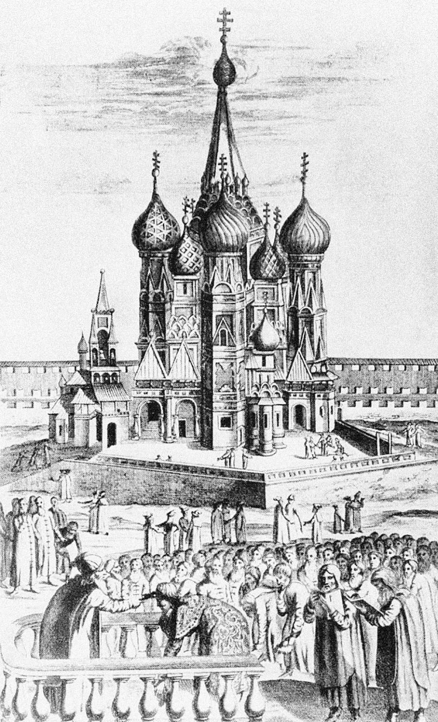 Москва, Црвен плоштад, 1634 година. Вака во 17 век изгледал храмот на Василиј Блажени.