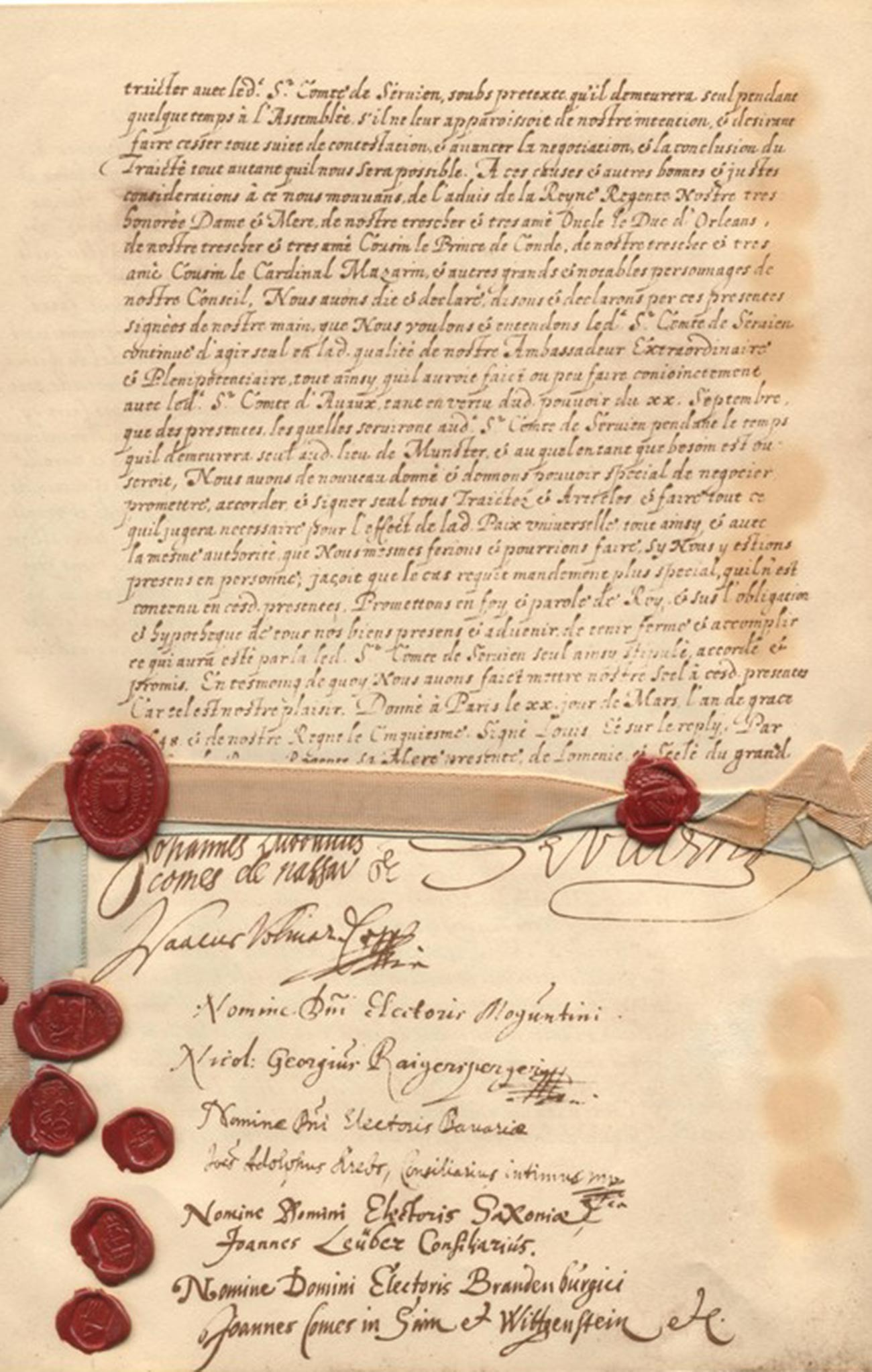 Страница од Вестфалскиот договор на француски јазик.