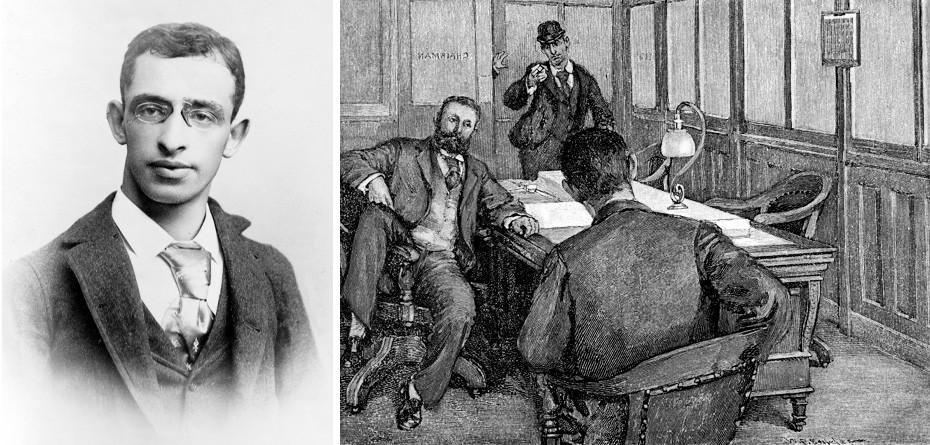 """Беркмановиот обид за убиство на Хенри Фрик, илустрација на В.П. Снајдер за списанието """"Харперс викли"""", 1892 година."""