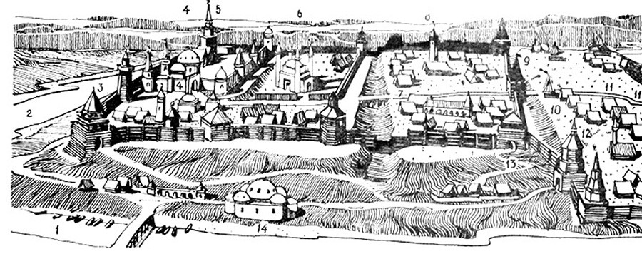 The Kazan fortress in the first half of the 16th century.