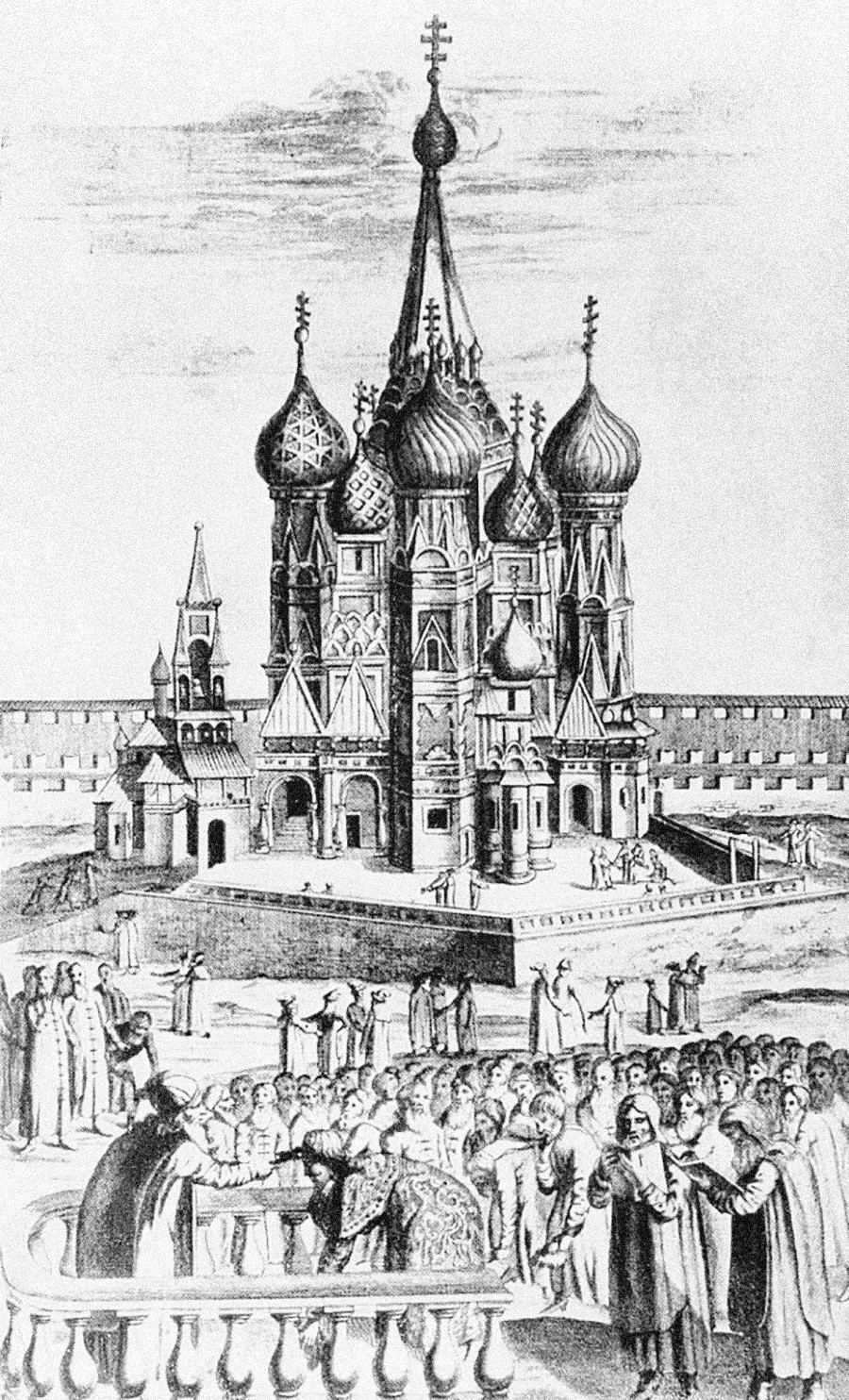 A 17th-century view of the St. Basil's Cathedral in Moscow. Woodcut, 1634.