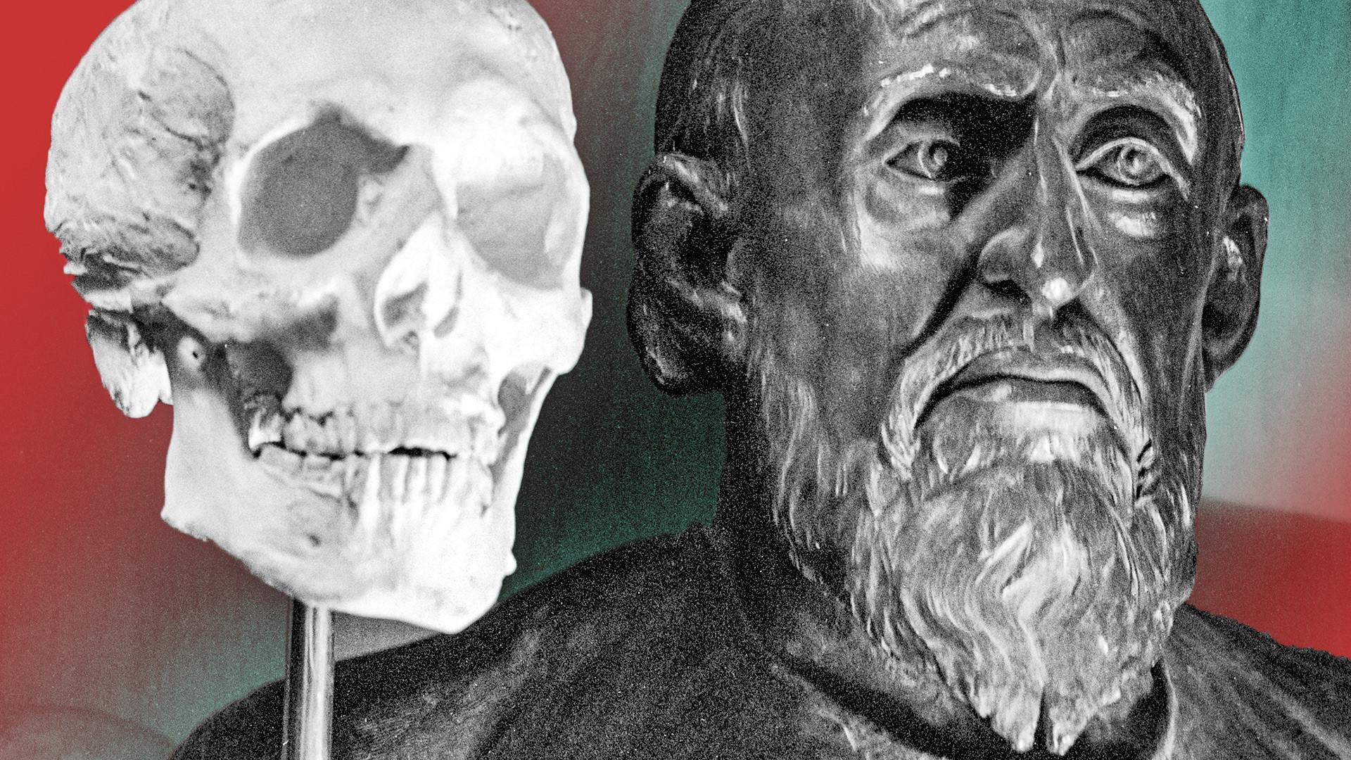 Главата на първия руски цар Иван Грозни е реконструирана върху черепа с помощта на стереометрия. Лаборатория за пластична антропология.