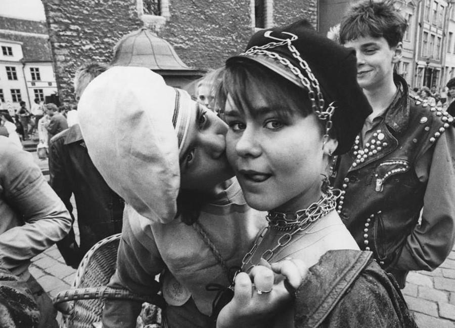 Fans von Heavy Metal Musik in Tallinn, 1980er Jahre