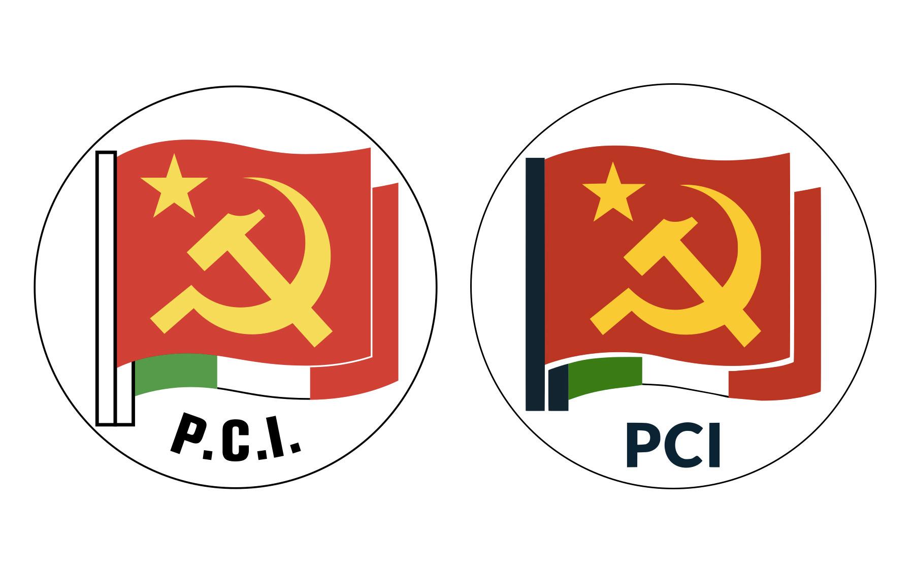 A sinistra, lo storico simbolo del Partito Comunista Italiano disegnato da Renato Guttuso e utilizzato dal 1953 al 1991. A destra, quello del Partito Comunista Italiano, realizzato nel 2016