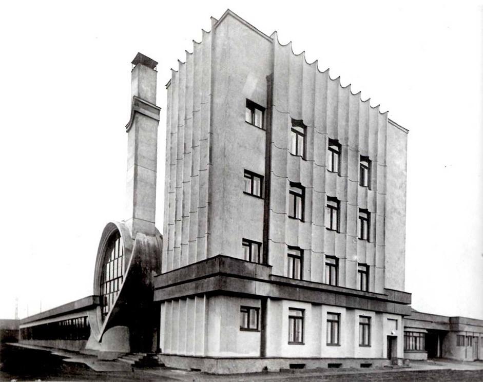 Garasi Gosplan, Moskow (1936), Rusia. Dirancang oleh Melnikov.