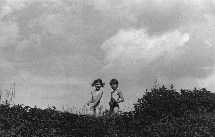 Des enfants se promenant dans la nature.