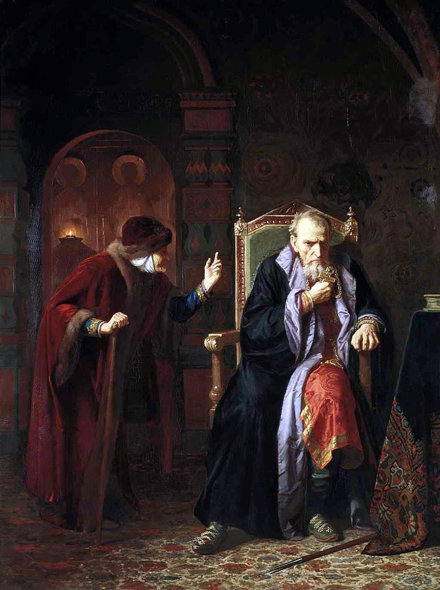 """""""Zar Iwan und sein Kindermädchen"""" von Karl Gottlieb Wenig. Anmerkung des Autors: Die letzten Erwähnungen von Zar Iwans Kindermädchen Agrippina Tscheljadnina stammen aus dem Jahr 1538, als Iwan erst 8 Jahre alt war. Sie konnte also nicht da sein, als er ein erwachsener Mann war."""