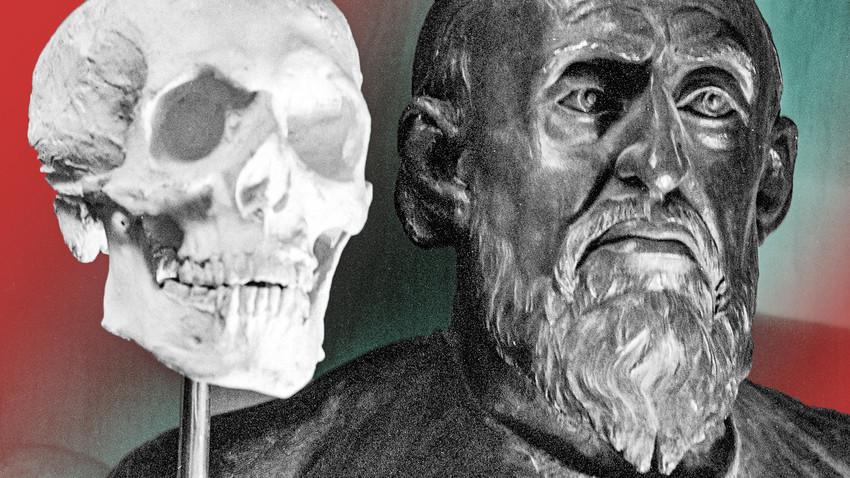 Imagem (dir.) de Ivã, o Terrível, reconstruída a partir de seu crânio (esq.) no Instituto de Antropologia e Etnografia de Moscou.