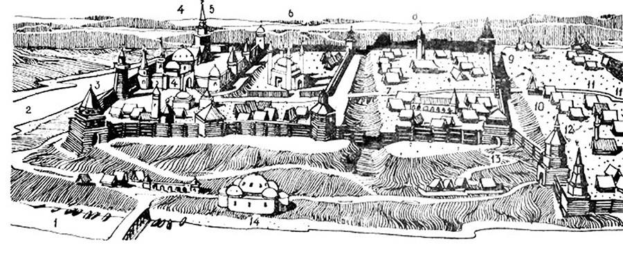 A fortaleza de Cazã na primeira metade do século 16.