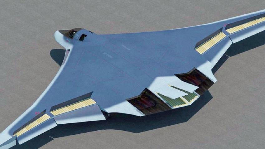 Невидливиот стратегиски бомбардер ПАК Да (прототипска скица)