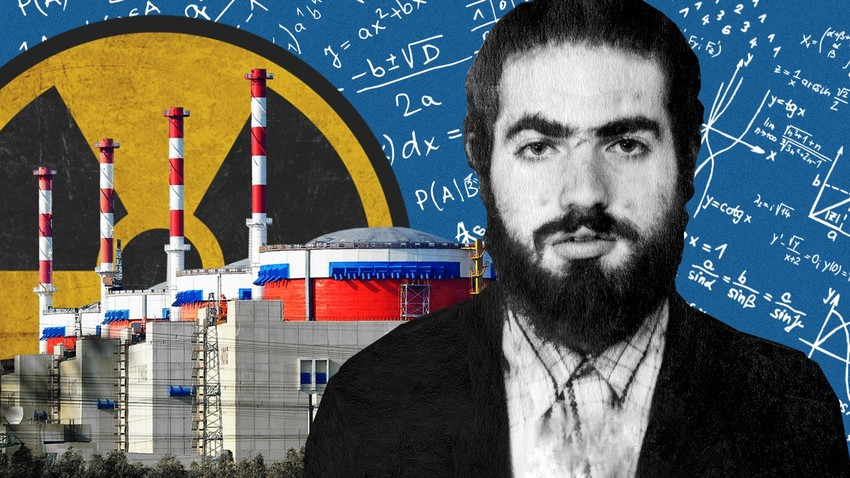 The great mathematician Grigory Perel'man against the backdrop of a Russian nuclear power plant