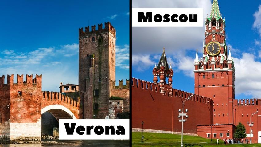 Castelvecchio (esq.), em Verona, e o Kremlin de Moscou (dir.)