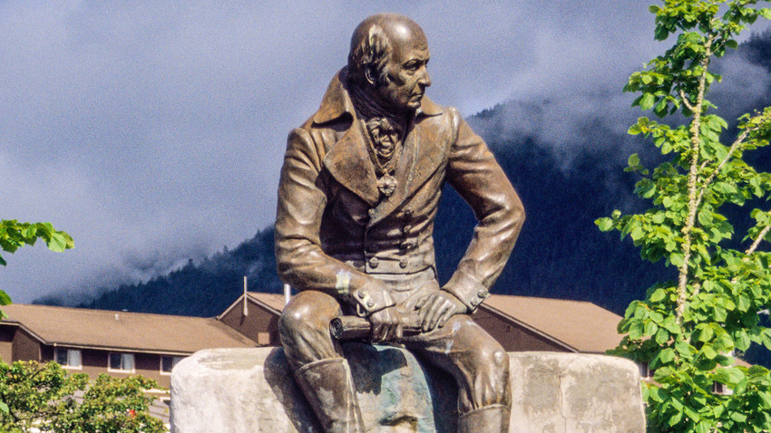 The statue of Alexander Baranov in Sitka, Alaska