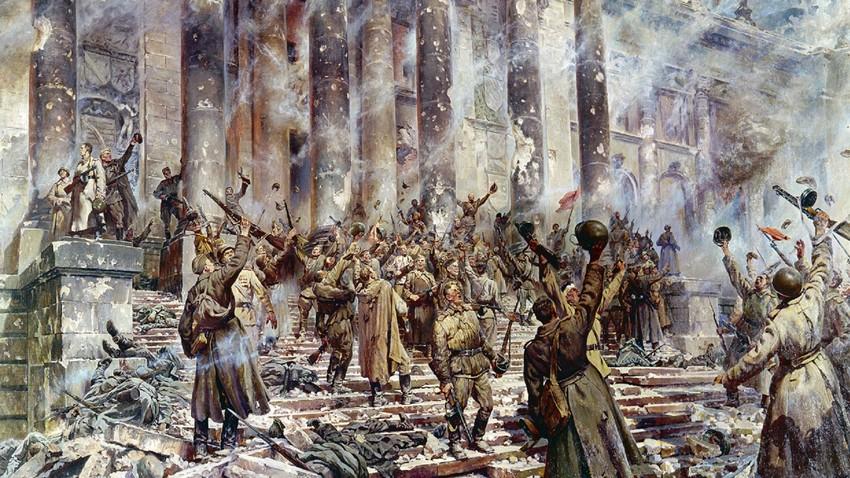"""Vitória"""". Pintura de P. Krivonosov (1911-1967)."""