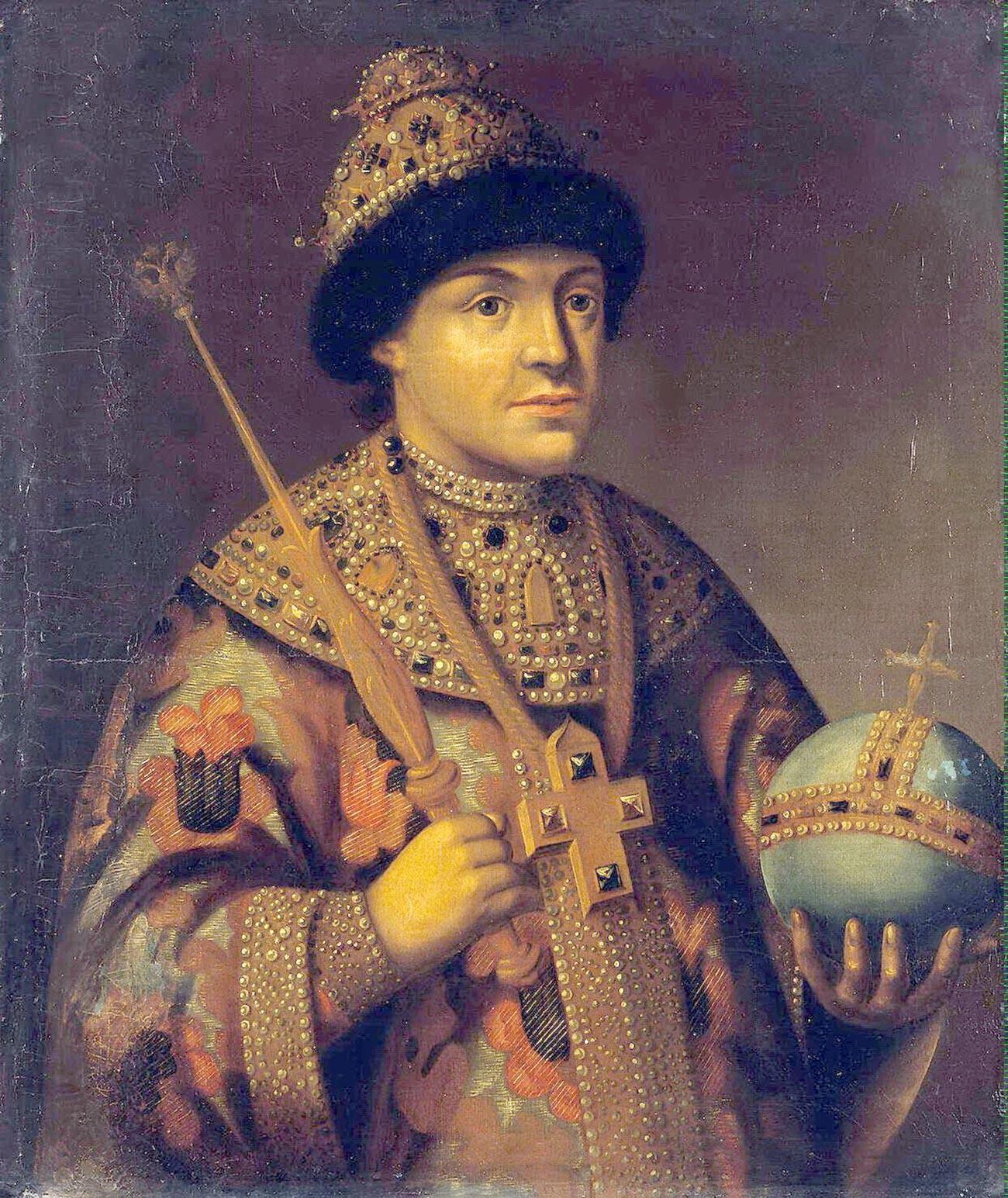 Lo zar Fyodor Alekseyevich (1661-1682). Suo fratello minore Ivan (1666-1696) soffriva probabilmente di disturbi mentali
