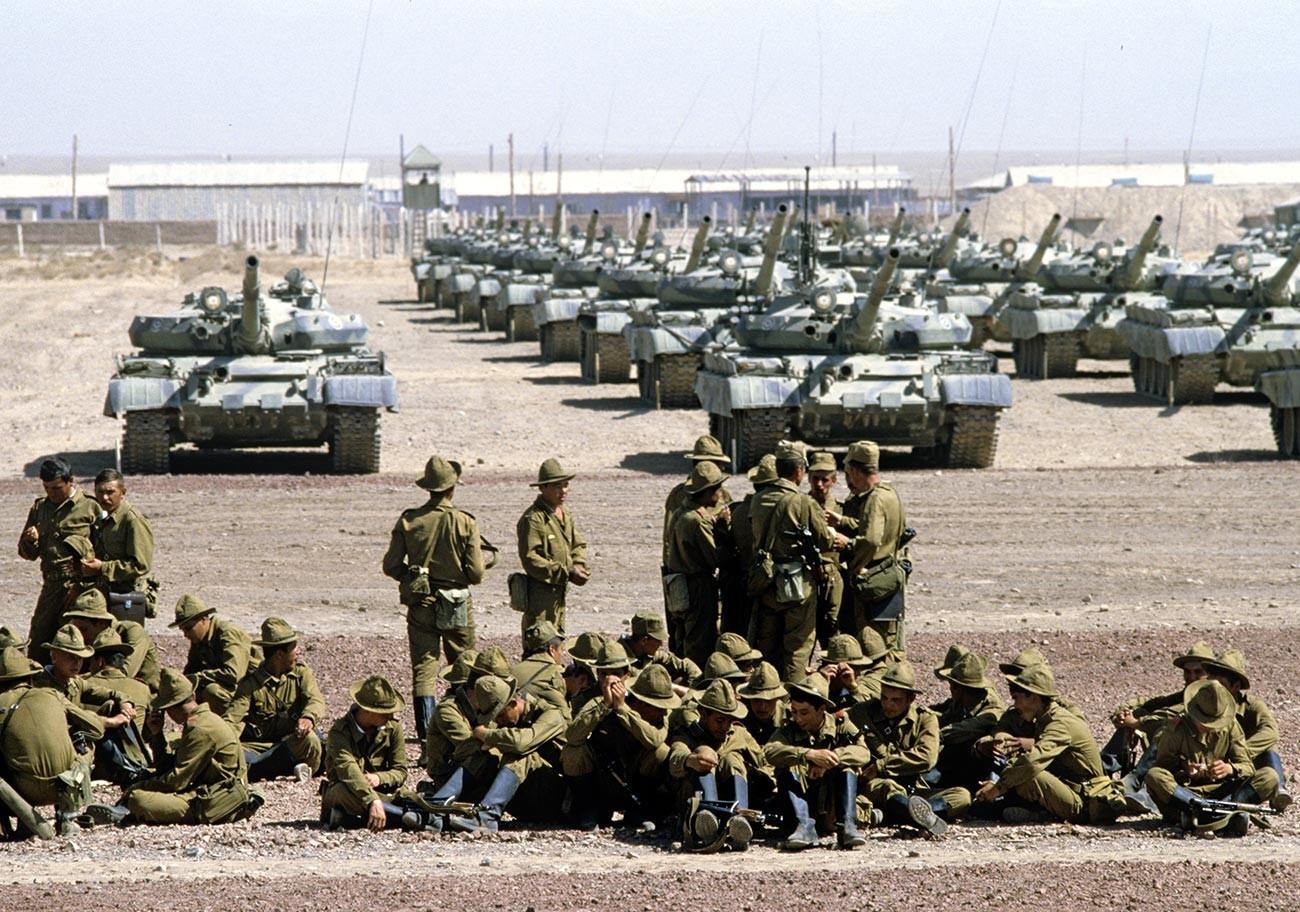 A Soviet tank regiment in Afghanistan.