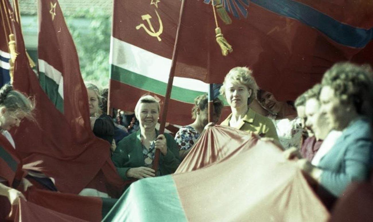 Reunión pública en Tiraspol, 1964.