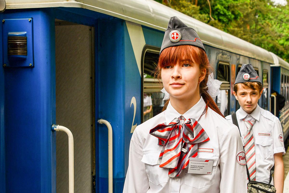 Klub kereta api anak di luar Kota Moskow.
