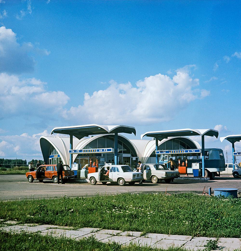 Station essence à Minsk, 1978