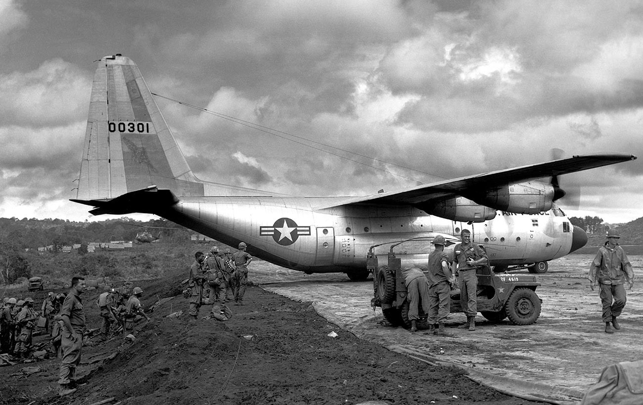 An AC-130 plane of the US Air Force on the runway in Kbam Bleh, Vietnam, 1966.
