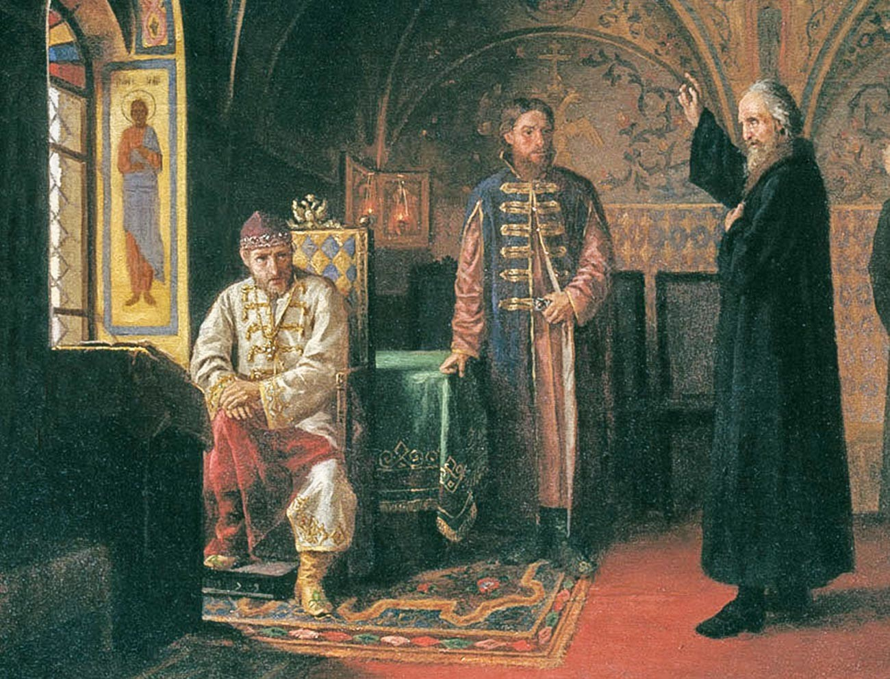 «Митрополит Филипп обличает Ивана Грозного» (1800), художник Яков Турлыгин. Иван Грозный изображен в тафье