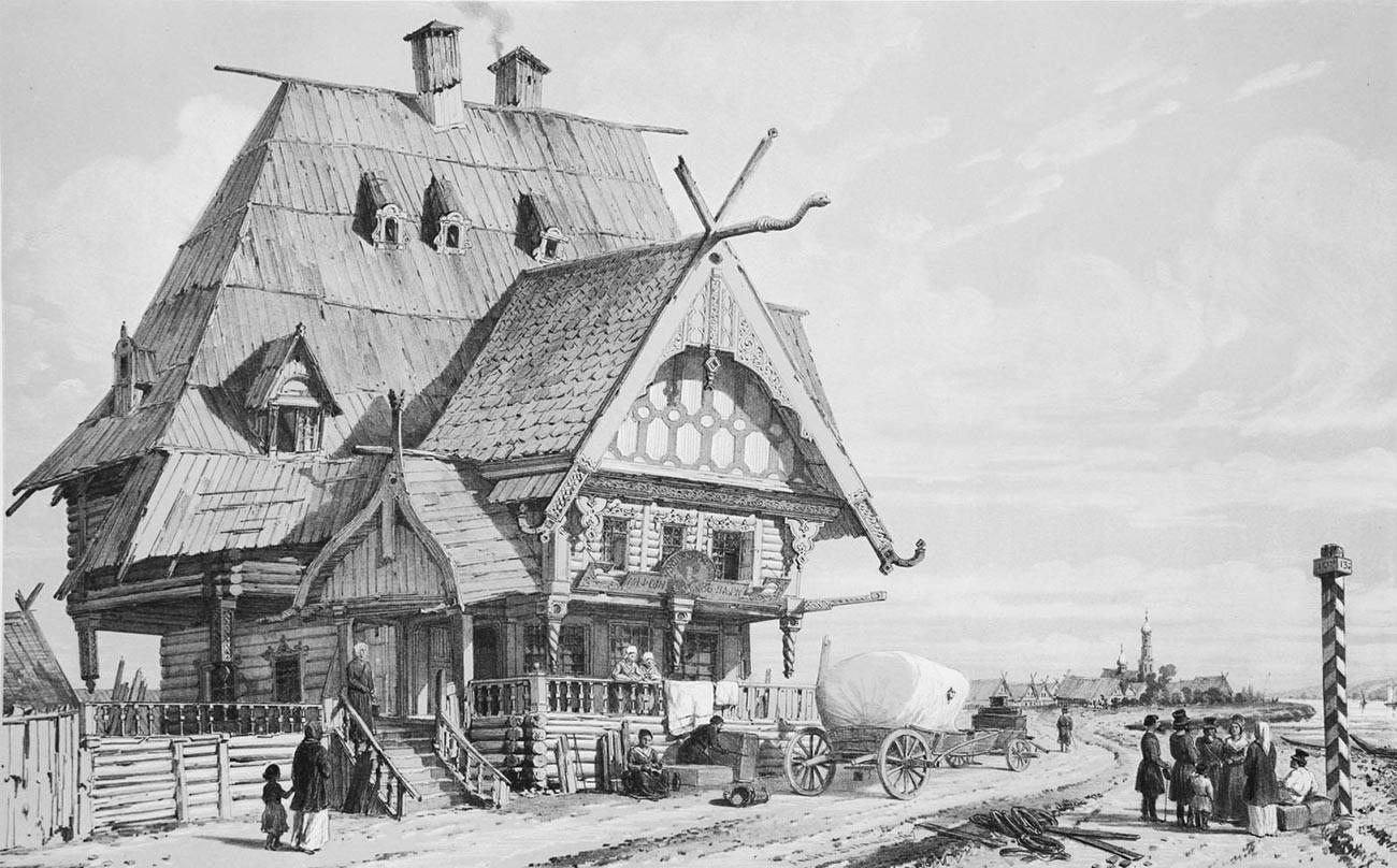 Вид трактира и почтовой станции на дороге из Костромы в Ярославль, 1839