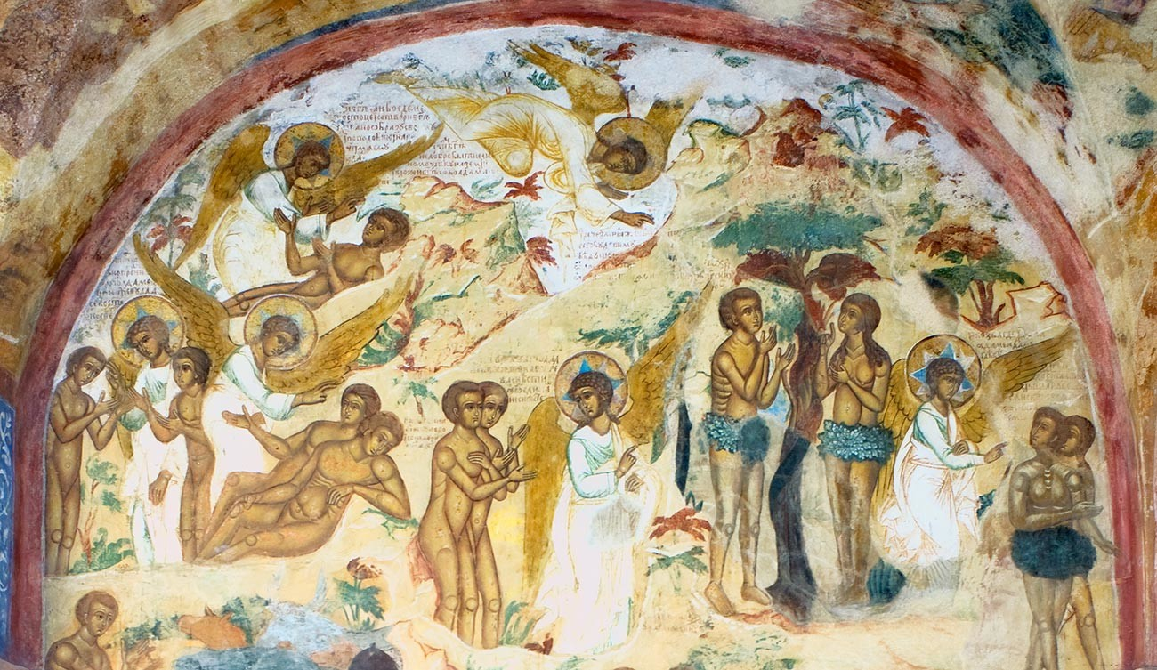 Church of St. Nicholas Nadein. West gallery, north wall. Mid-17th-century frescoes of Adam & Eve, Expulsion from Paradise. August 15, 2017
