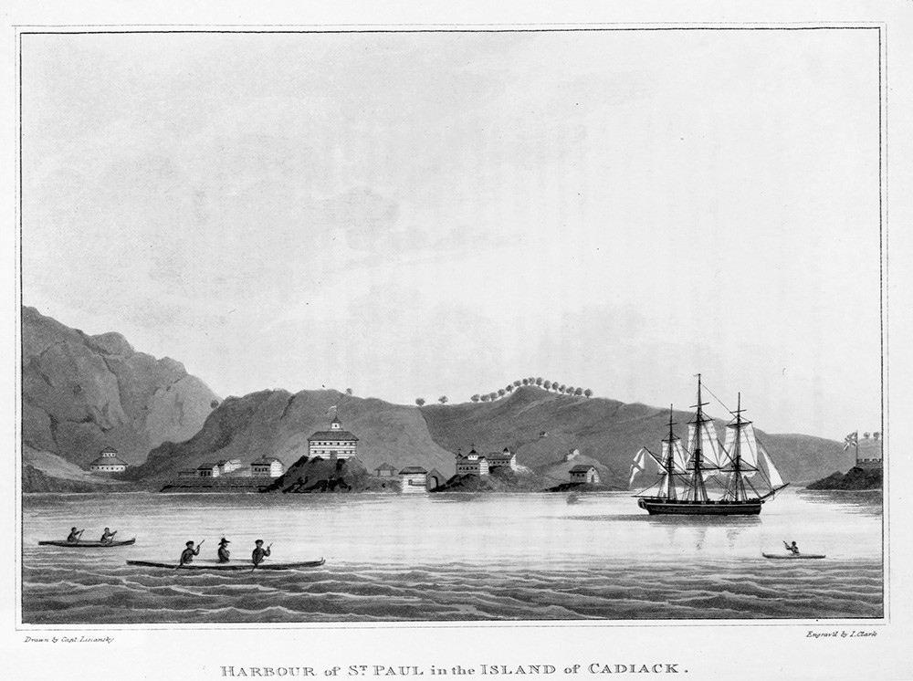 The harbor of St.Paul on the isle of Kodiak, then the capital of Russian Alaska, as seen in Urey Lisiansky's A Voyage Round the World, 1814.