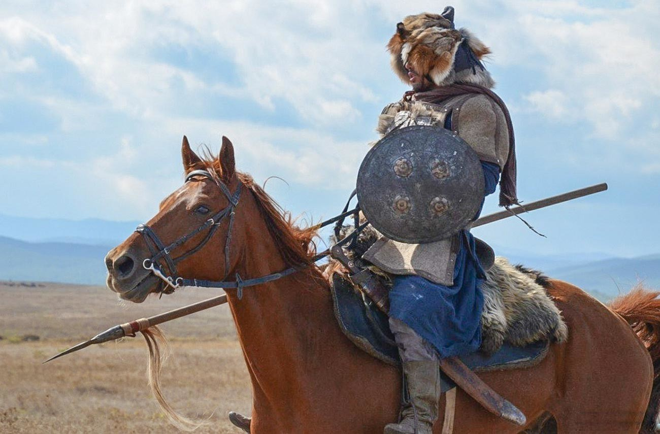 A Mongol cavalryman. A still from the