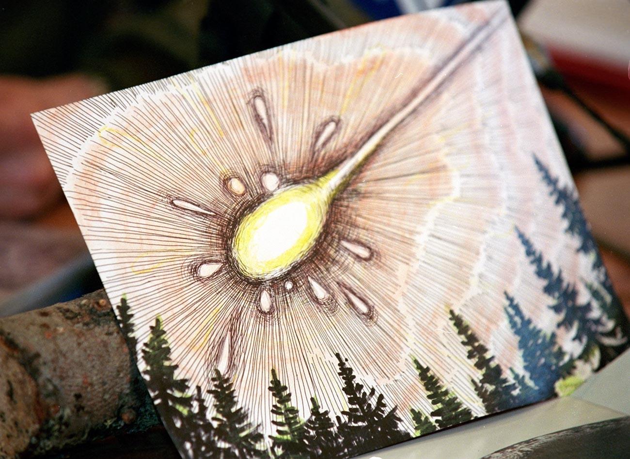 Risba Vadima Černobrova. Tako naj bi izgledal padec Vitimskega meteorita.