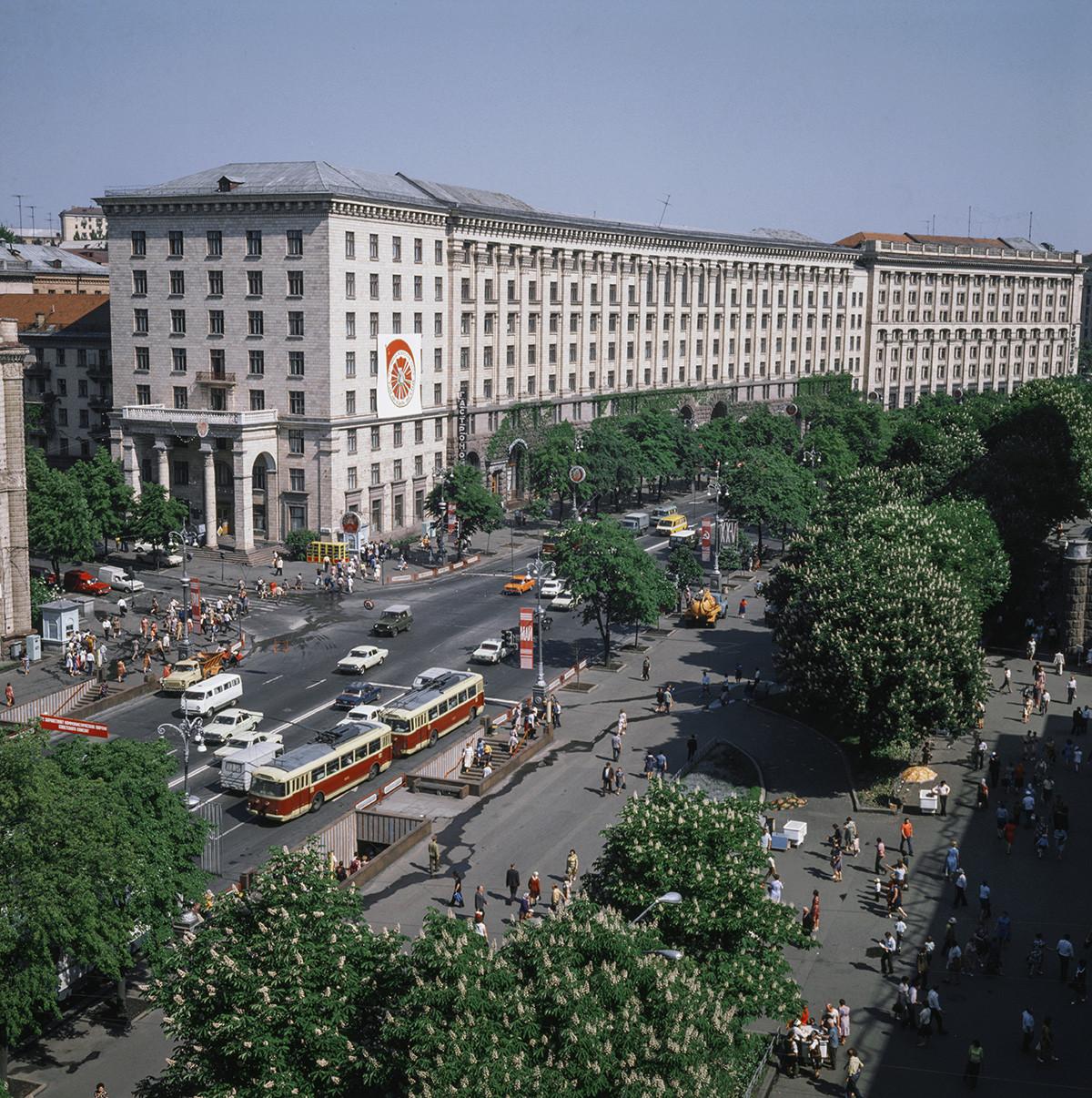 Kreščatik, glavna ulica v Kijevu, 1979