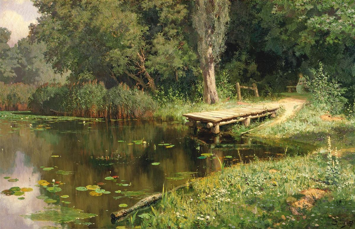 ヴァシーリー・ポレーノフ 草花の生い茂る池 1879年