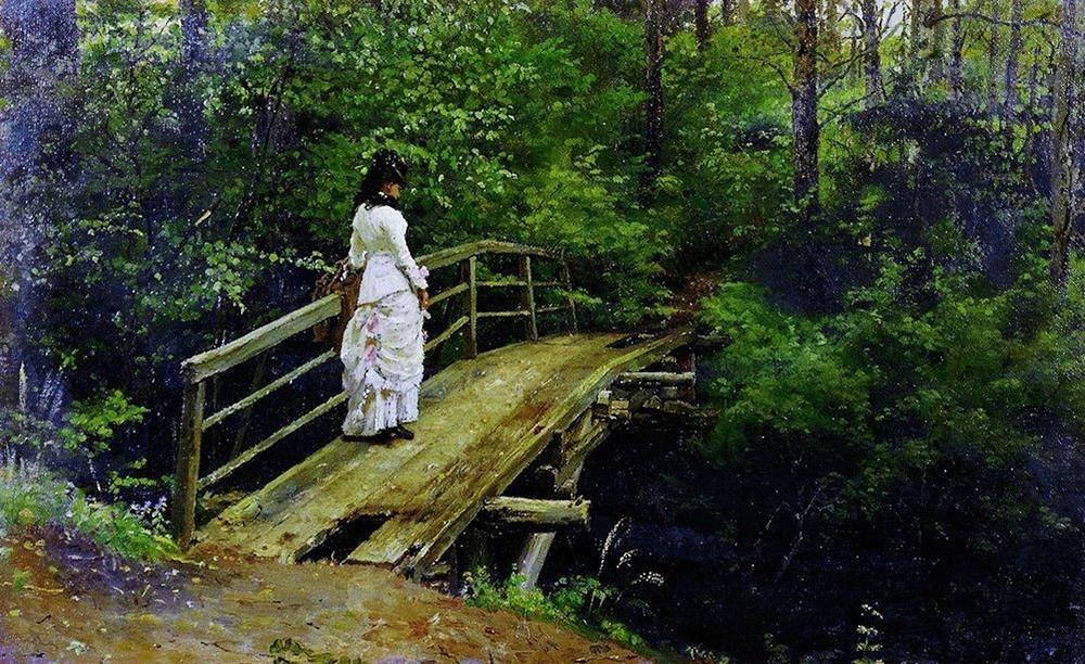 イリヤ・レーピン  夏の風景(アブラムツェヴォの橋の上のヴェーラ・アレクセーエヴナ・レーピナ) 1879年