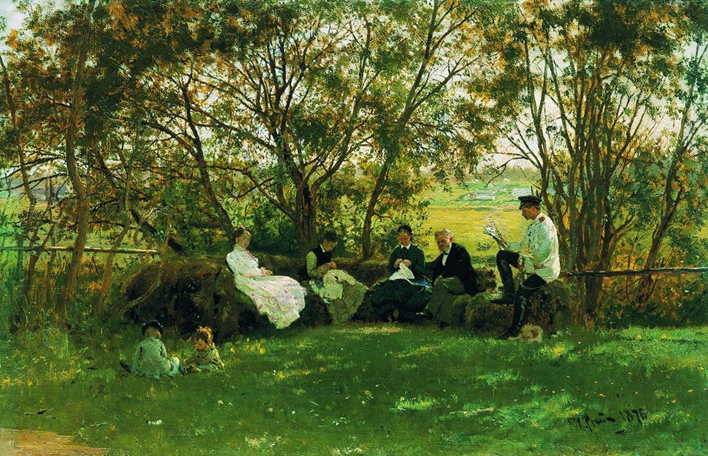 イリヤ・レーピン 芝生のベンチで 1876年