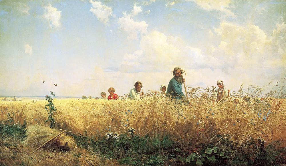 グリゴリー・ミャソエードフ 収穫のとき、芝を刈る人 1887年