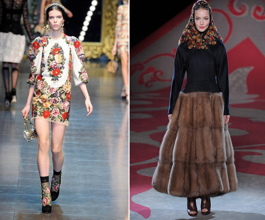 The Dolce & Gabbana show during Fall 2012 Fashion Week in Milan (L), Ulyana Sergeenko - Couture Autumn Winter 2012 Runway (R)